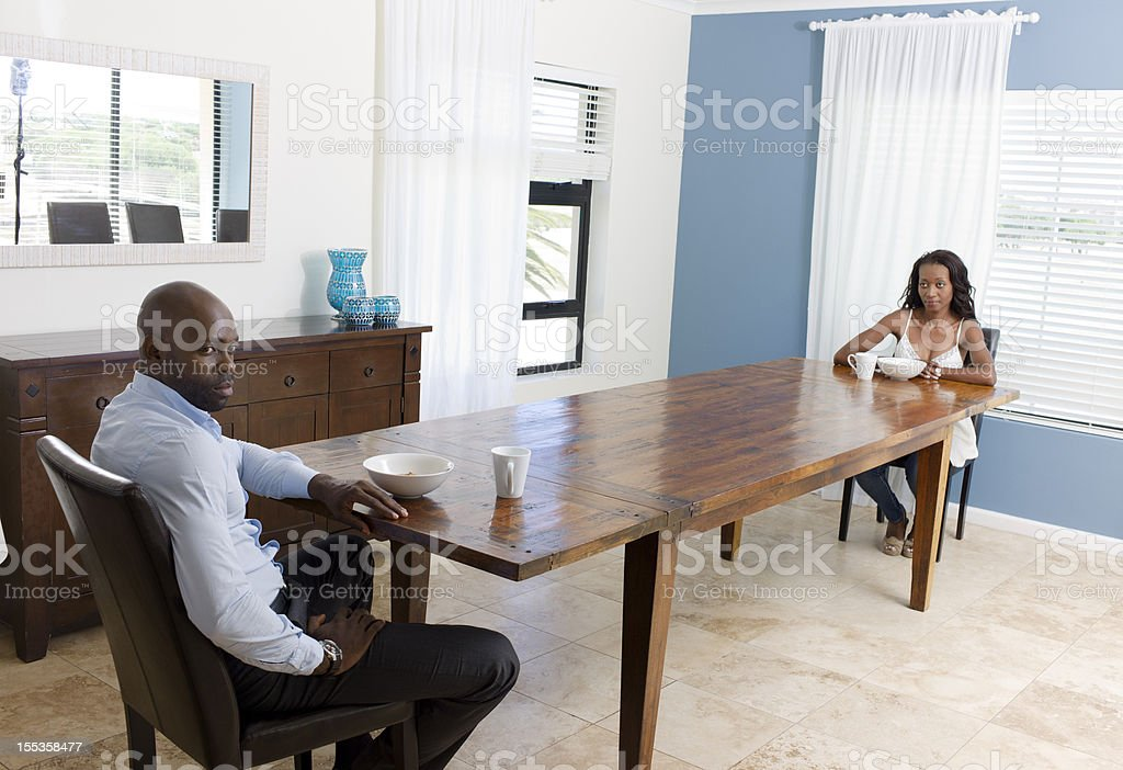 Arguing Couple at Breakfast. royalty-free stock photo