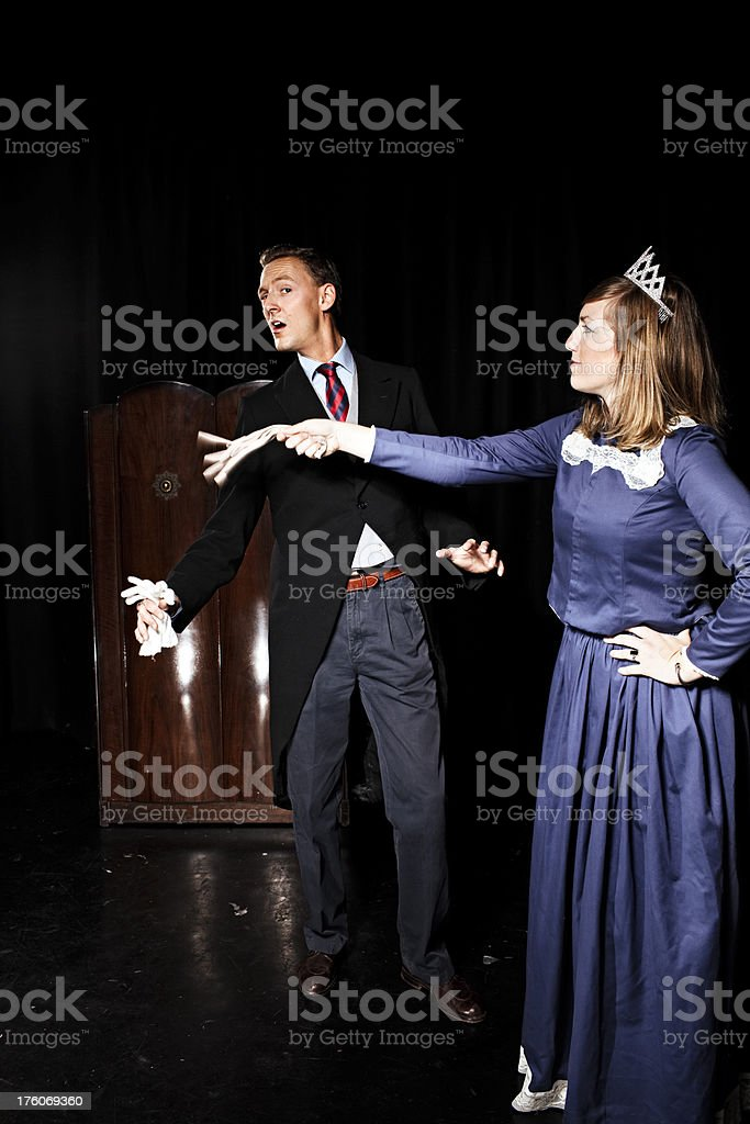 Arguing Couple in Victorian clothing royalty-free stock photo