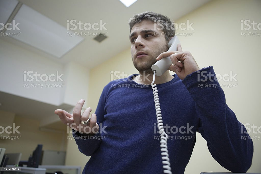 Arguing on the phone. stock photo
