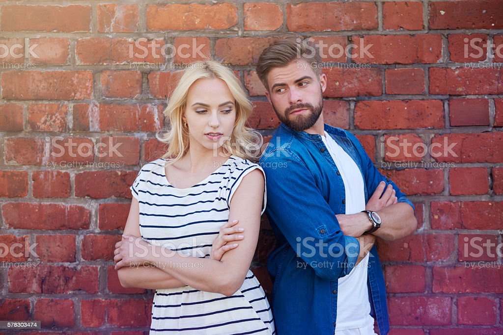 Argument between man and woman stock photo