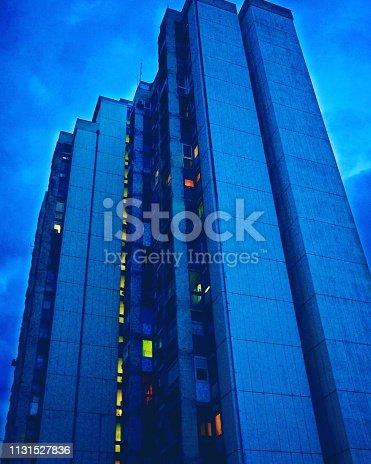 Big arhitecture in big blue sky.