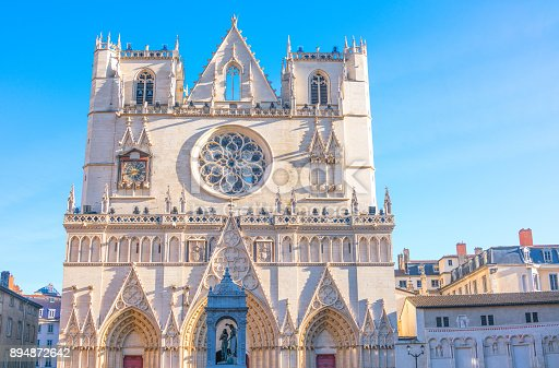 France, Lyon, the facade of the St. Jean cathedral