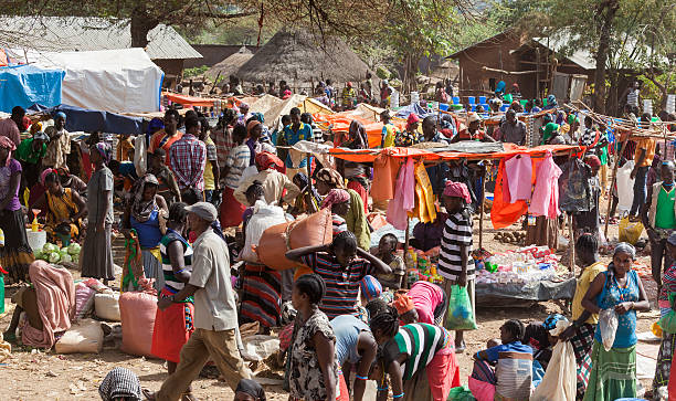 Ari people at village market. Bonata. Omo Valley. Ethiopia stock photo