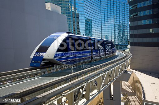 Las Vegas, USA - April 8, 2014: Aria Express Monorail arriving at Bellagio and Crystals station. The train is free and travels as far as the Luxor Hotel.
