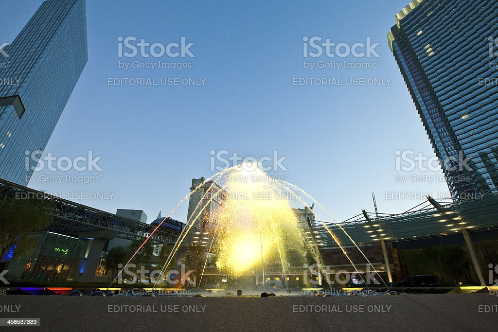 Aria Resort and Casino Fountain in Las Vegas royalty-free stock photo