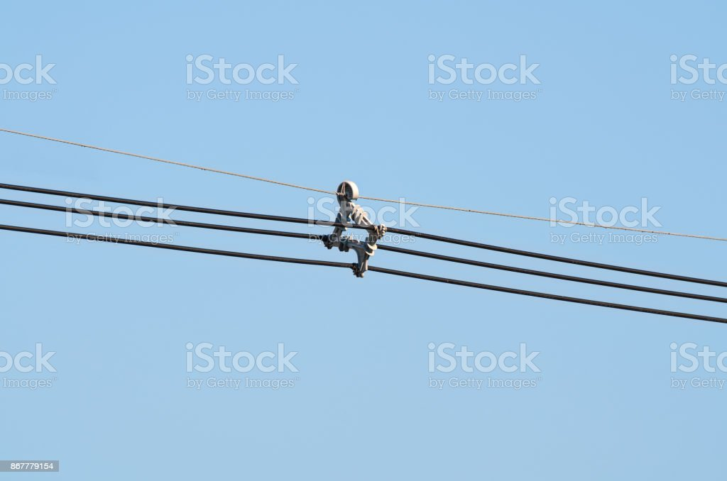 Arial cable spacer system stock photo