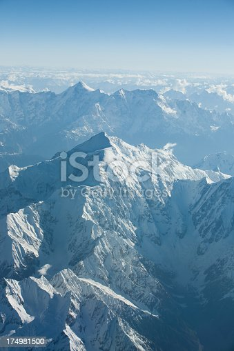 174963269 istock photo Arial photograph of snowy mountain peaks 174981500