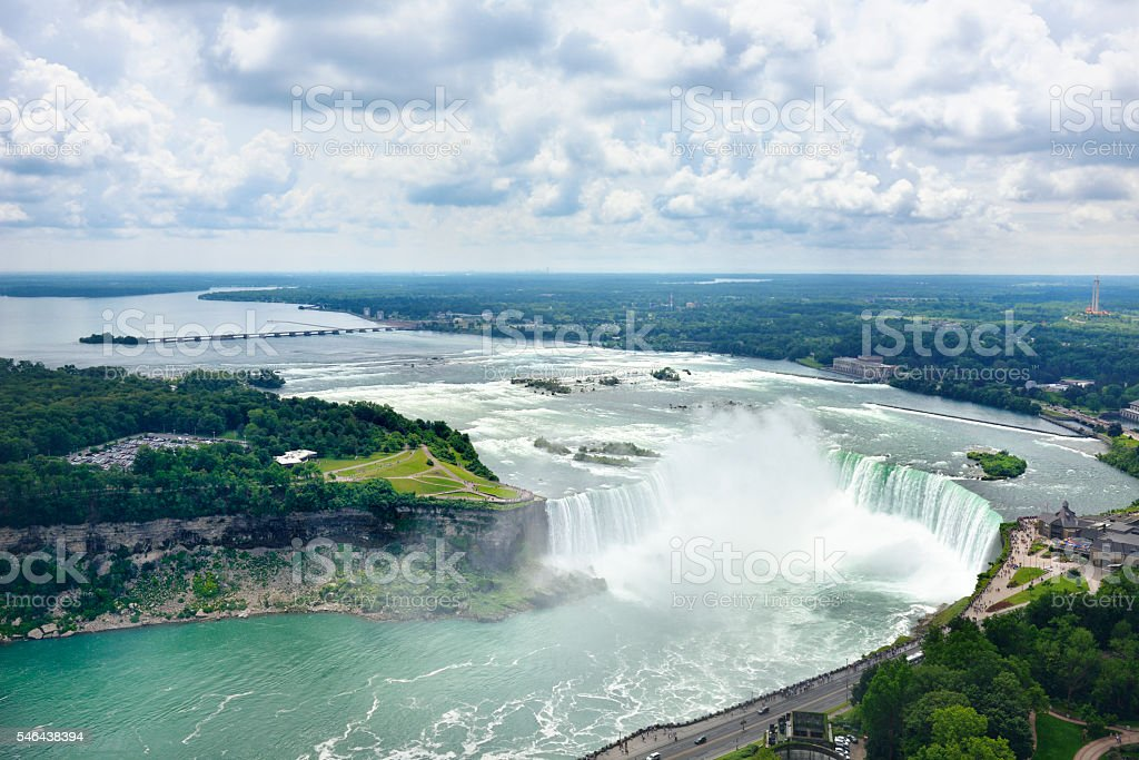 Arial veiw of Niagara Falls from the Canadian side stock photo
