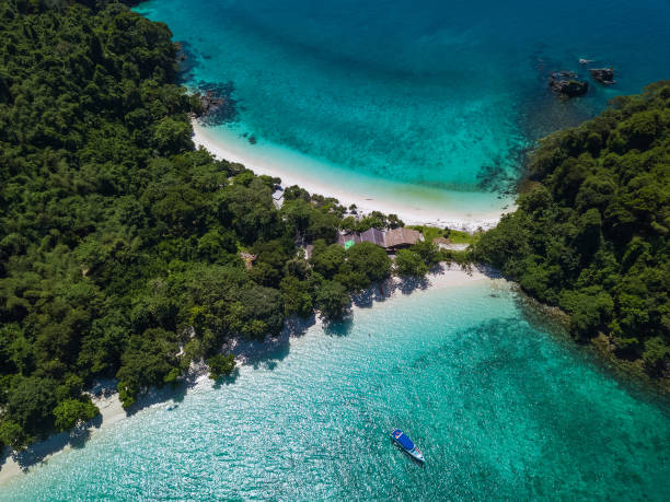 Arial view from above of Twin Beach Mergui Island or Bruer island, seascape landscape view from the sky Arial view from above of Twin Beach Mergui Island or Bruer island, seascape landscape view from the sky myanmar stock pictures, royalty-free photos & images