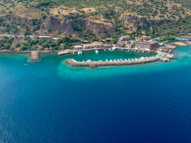 Çanakkale'de Assos'un (Behramkale) Arial görünümü stok fotoğrafı