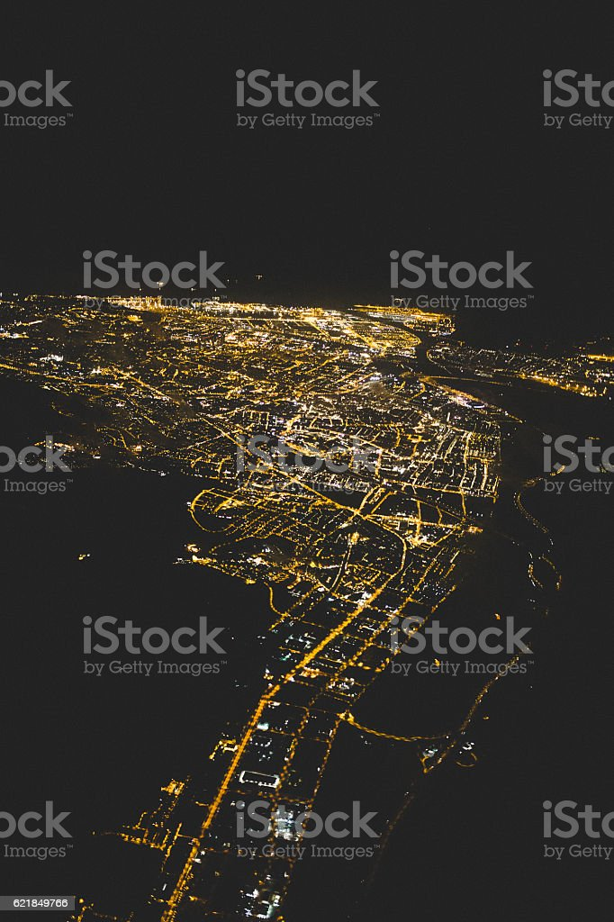 Arial View of Barcelona at Night - foto de stock