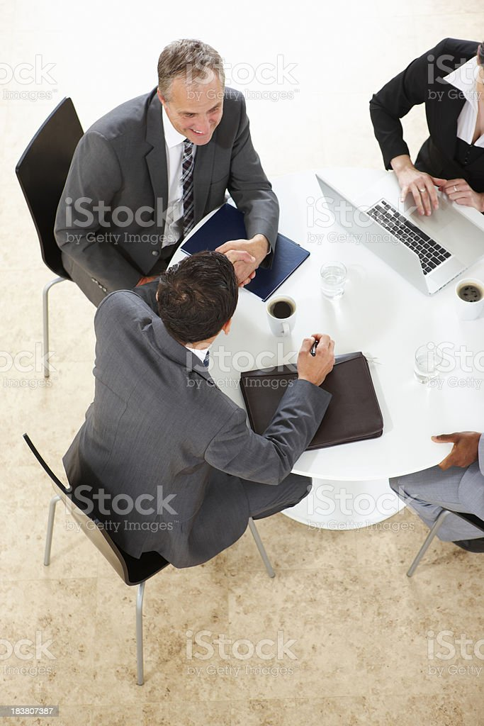 arial view of Business Group Working on a laptop royalty-free stock photo