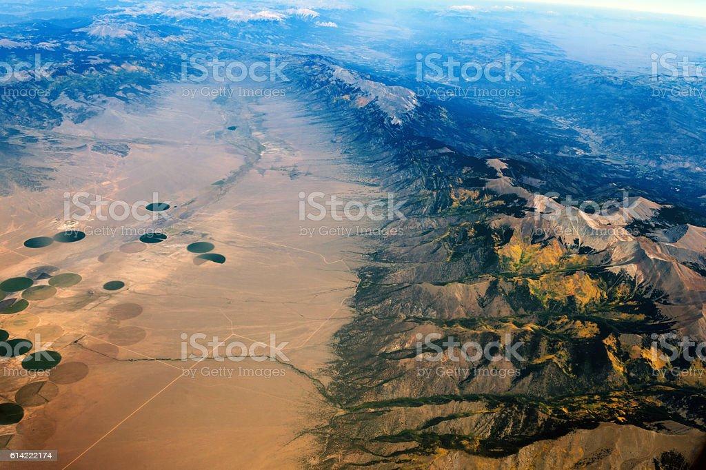 Arial View of Colorado Mountains,San Luis Valley, Colorado, USA stock photo