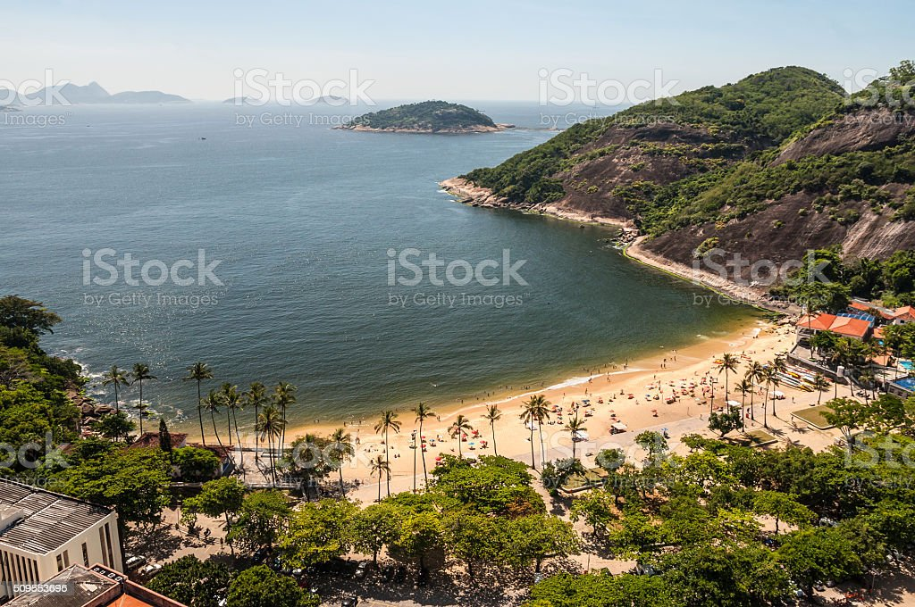 Arial view of famous Praia Vermelha Beach stock photo