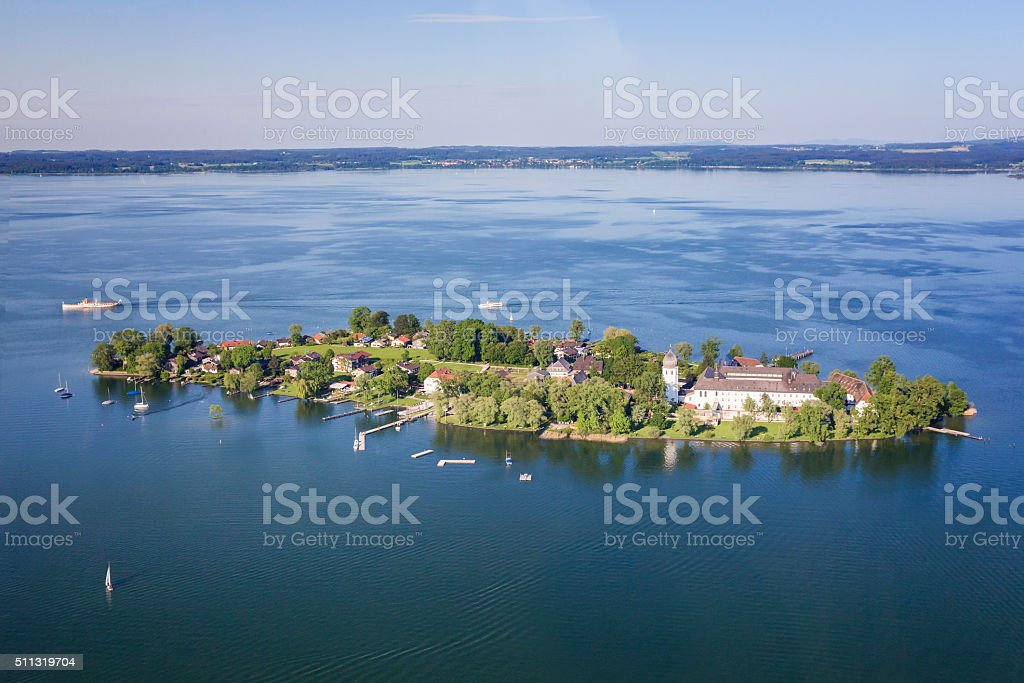 Arial view of Fraueninsel at Chiemsee stock photo
