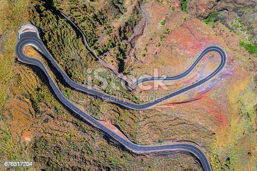 istock Arial View of Hairpin turns near by Valle Gran Rey on Canary Islands La Gomera in the province of Santa Cruz de Tenerife - Spain 676317204