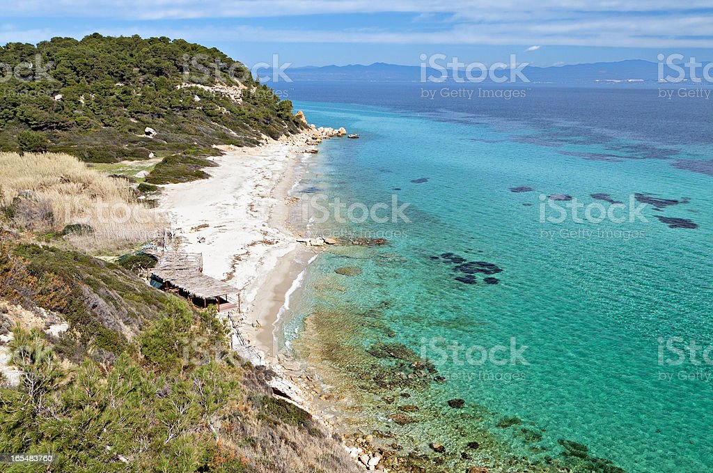 Arial view of Halkidiki peninsula beach in Greece stock photo