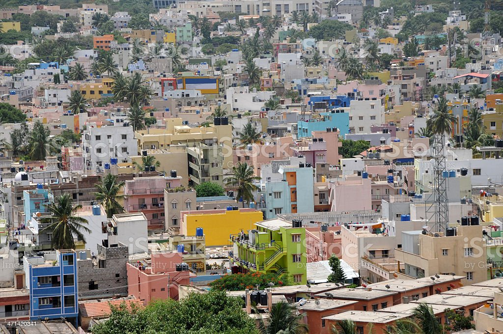 Arial view of Indian residential area during day. stock photo