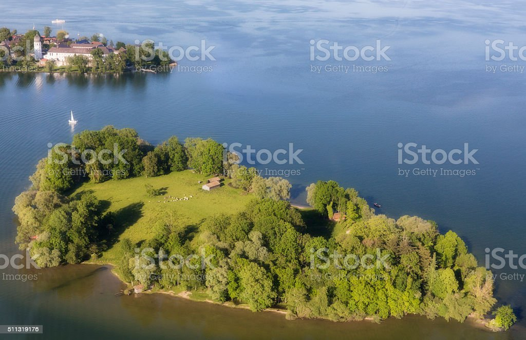 Arial view of Krautinsel at Chiemsee stock photo