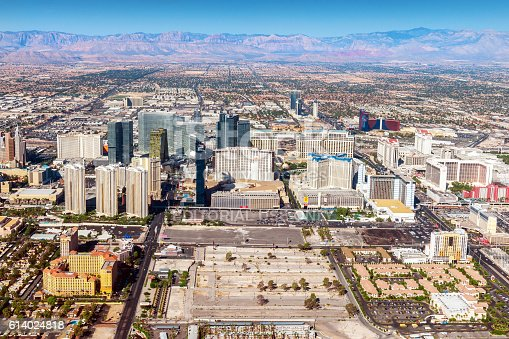 Las Vegas ,Nevada - September 18, 2012: Arial view of Vas Vegas with many hotels and casinos.Nevada,USA,Nikon D3x