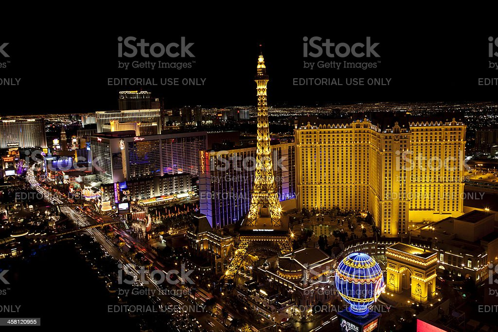 Arial view of Las Vegas Strip at night royalty-free stock photo