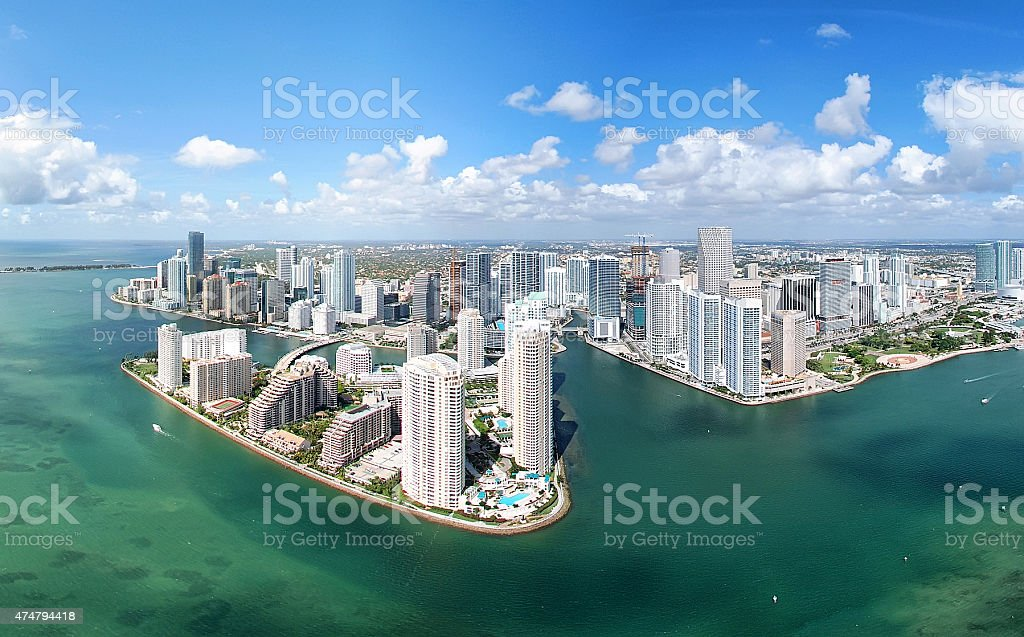 Arial view of miami beautiful turquoise water blue skies stock photo