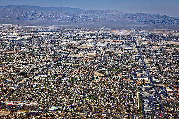 arial view of northern las vegas nevada usa - north stock photos and pictures