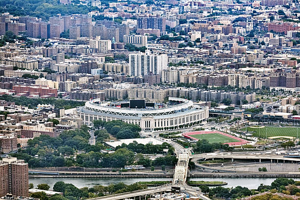 Arial view of NYC and Yankee Stadium stock photo
