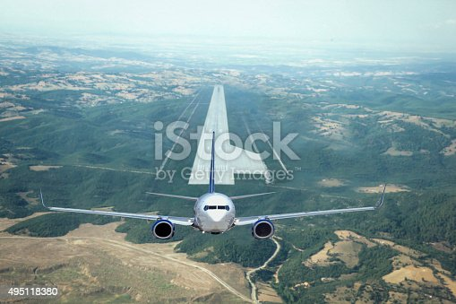 494996104 istock photo Arial view of Passenger airplane taking off 495118380