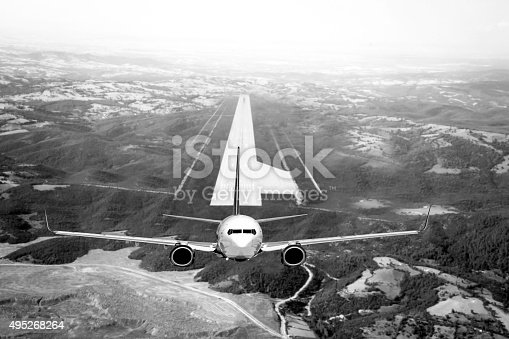 494996104istockphoto Arial view of Passenger airplane taking off with black&White 495268264