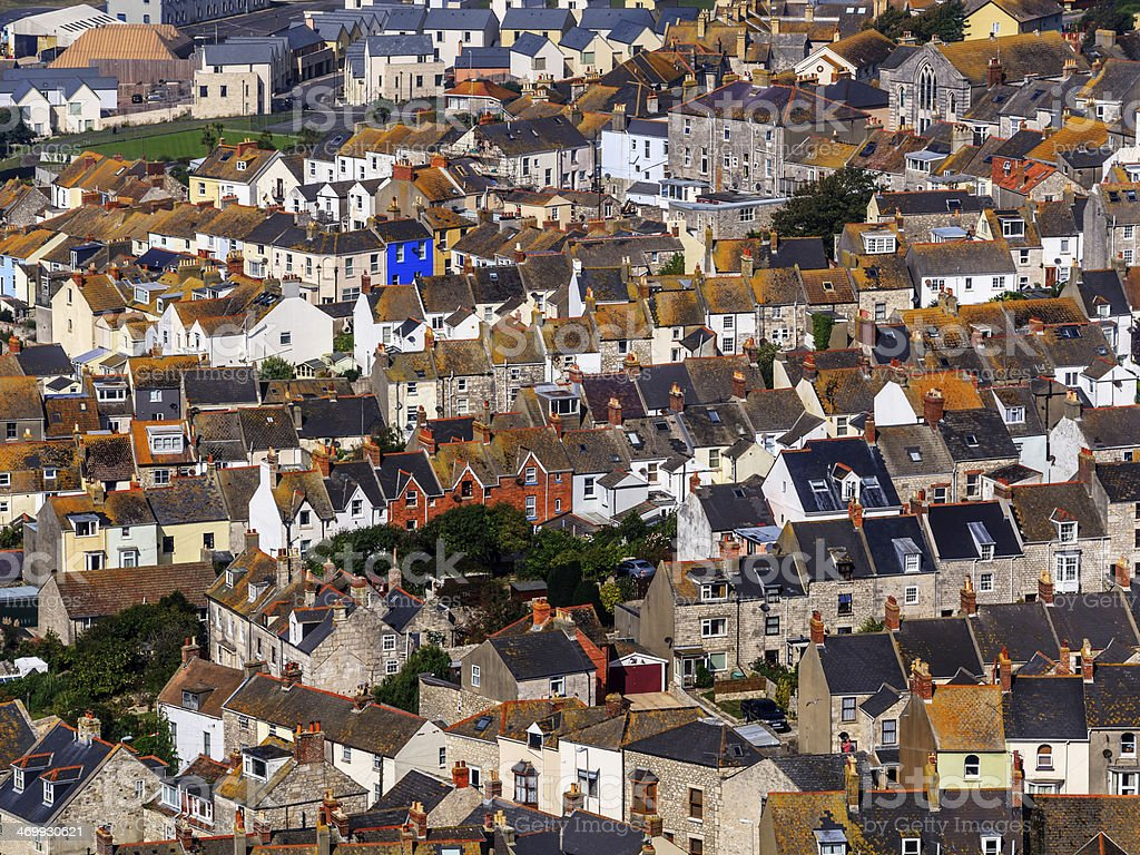 Arial view of Portland neighborhood in Dorset, UK stock photo
