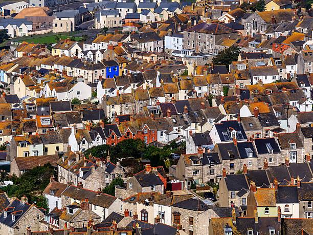 Arial view of Portland neighborhood in Dorset, UK stock photo