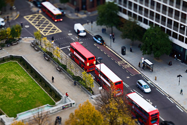 Arial view of street in London with traffic stock photo
