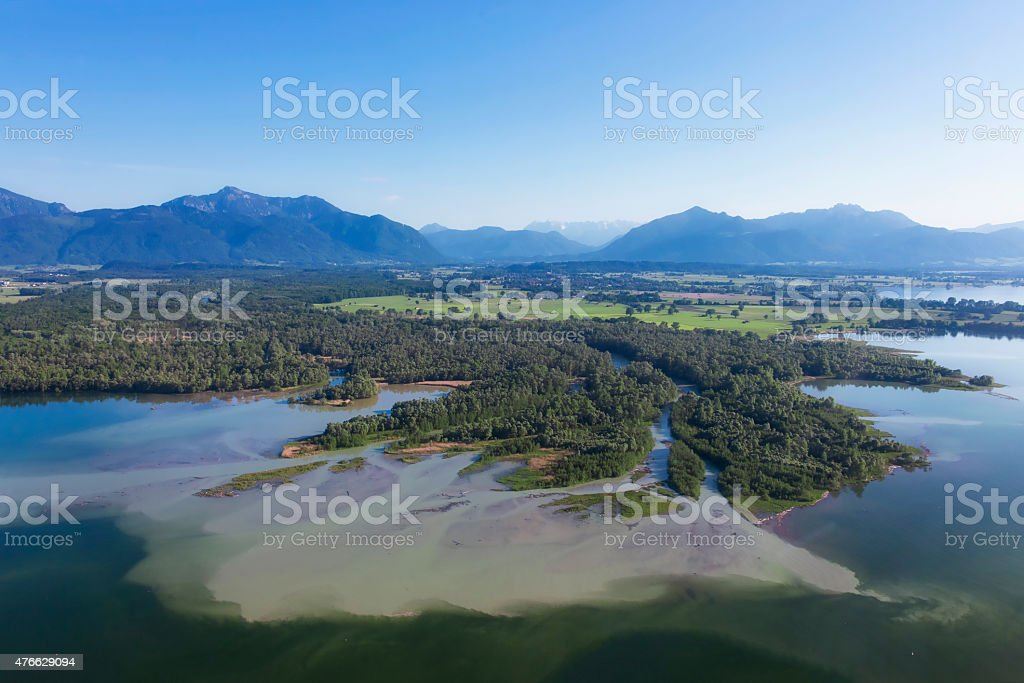 Arial view  - River Delta Tiroler Ache over lake Chiemsee stock photo
