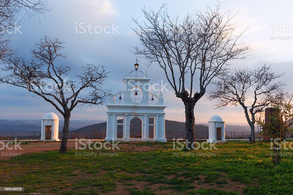 Arias Montano monument, in the village of Alajar, Huelva, Spain stock photo