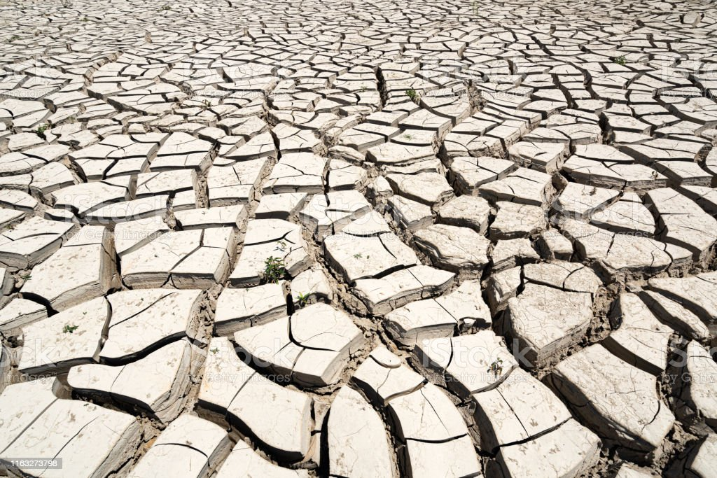 Arid climate, cracked earth background