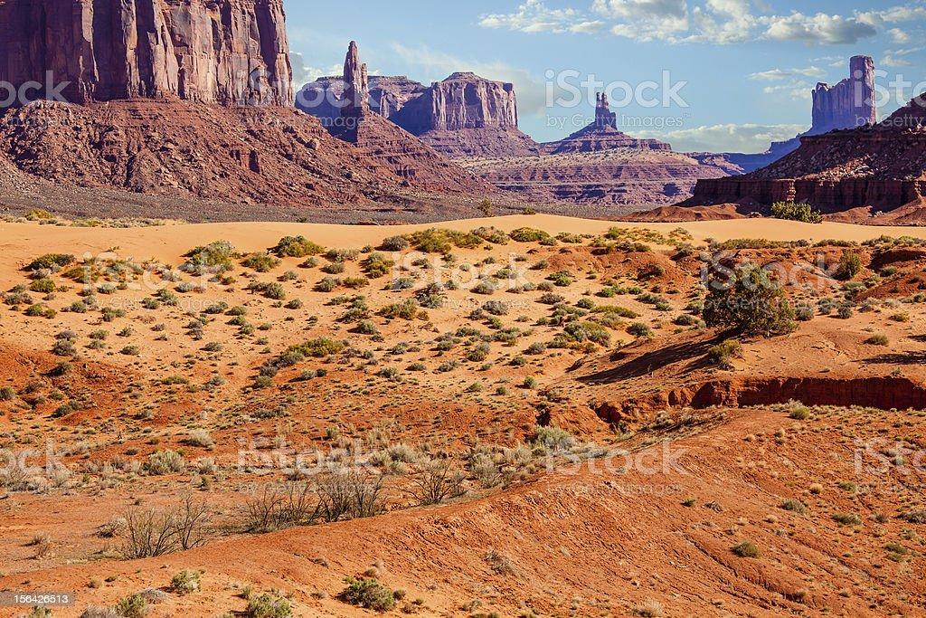 Arid Desert Landscape in Monument Valley, Utah stock photo