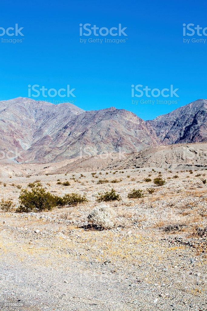 Arid Desert Landscape with Mountains Vertical stock photo