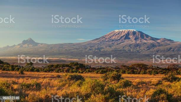 Photo of arid dry African savanna in late evening with Mount Kilimanjaro, highest peak i Africa. Amboseli National Park, Kenya