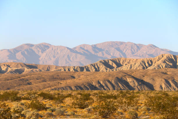 arid dry desert mountains shadows stock photo