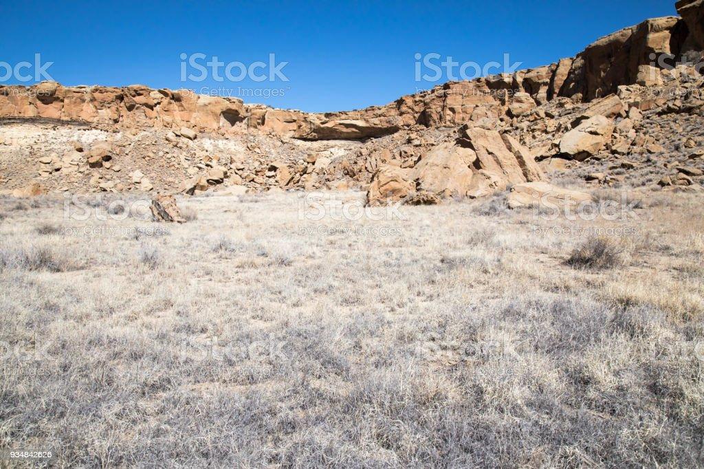 뉴멕시코에 있는 차코 협곡에서 건조 한 풍경 - 로열티 프리 0명 스톡 사진
