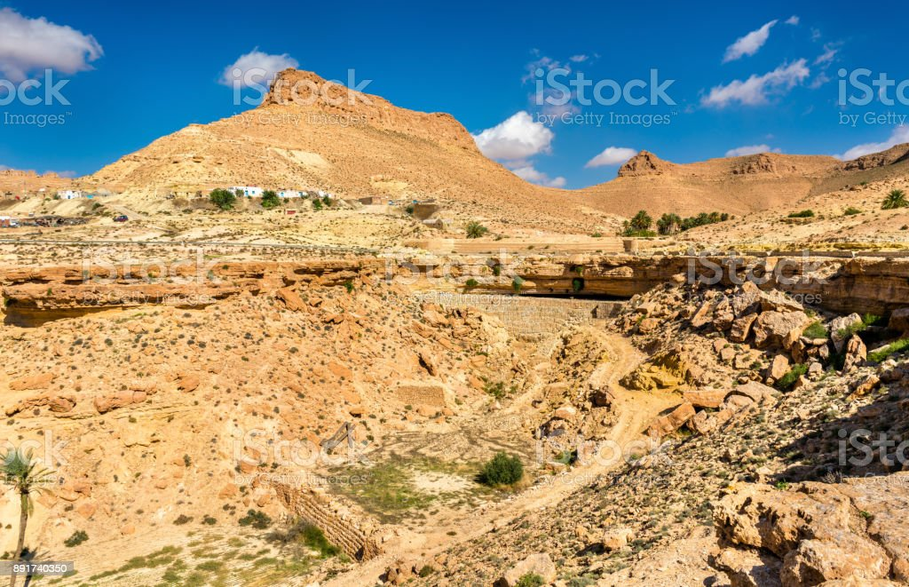 Arid landscape near Chenini in South Tunisia stock photo