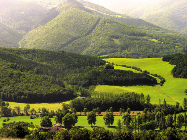 Ariege. Mountain and rural scenery, Pyrenees France. stock photo