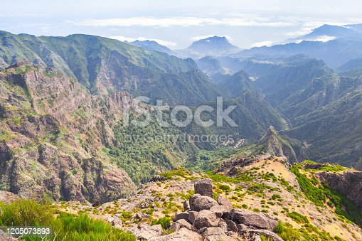 Pico do Arieiro. Mountain landscape at sunny summer day. It is third highest peak of Madeira Island, Portugal