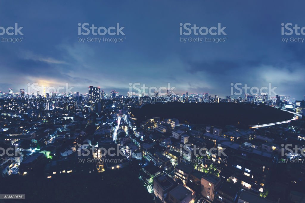 Ariel image of Nighttime in Tokyo stock photo