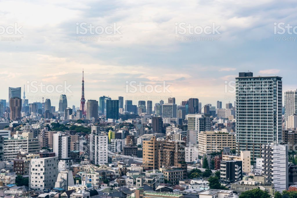 Ariel image of the Tokyo skyline in daytime stock photo