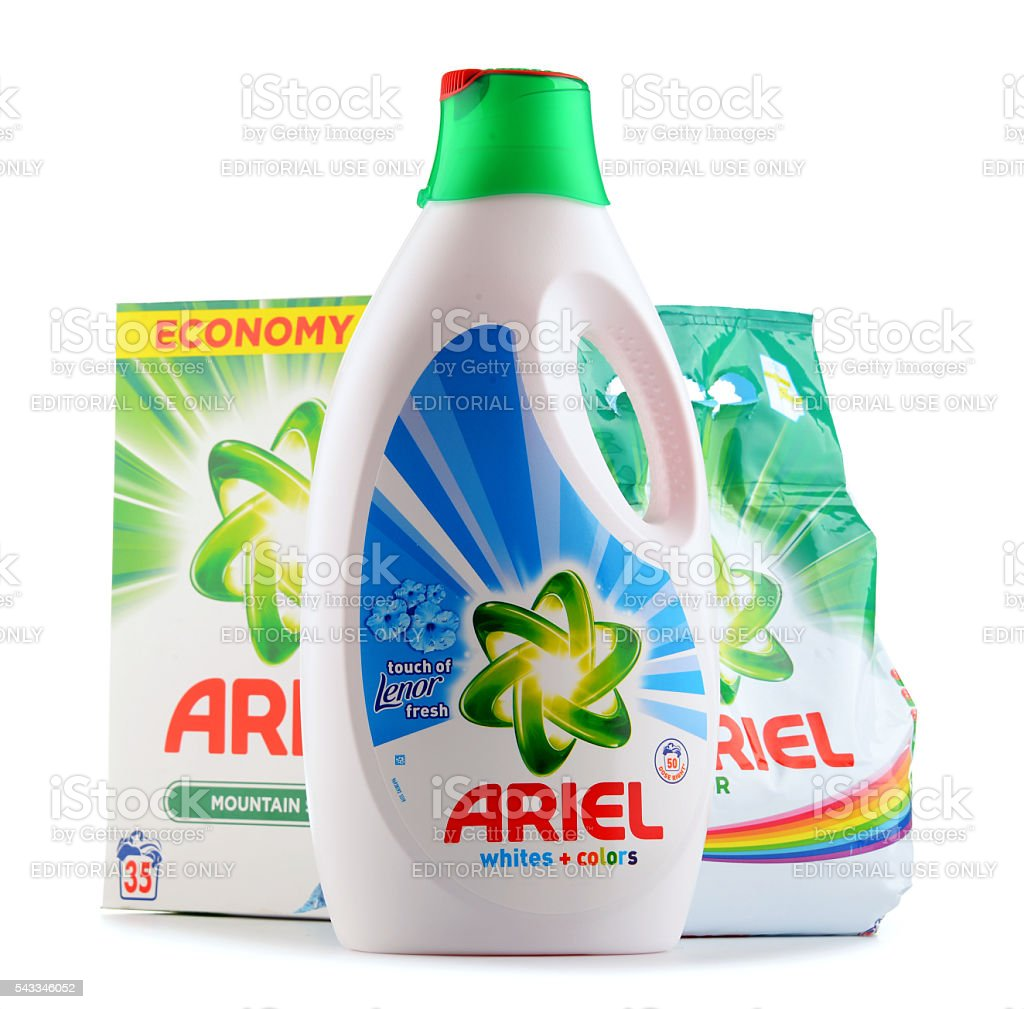 Ariel Laundry Detergent Products Isolated On White Stock