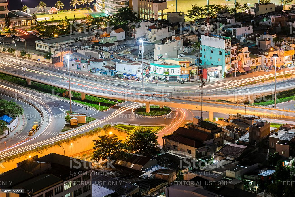 Ariel Night View Of Flyover System Inside The Residential Area Stock