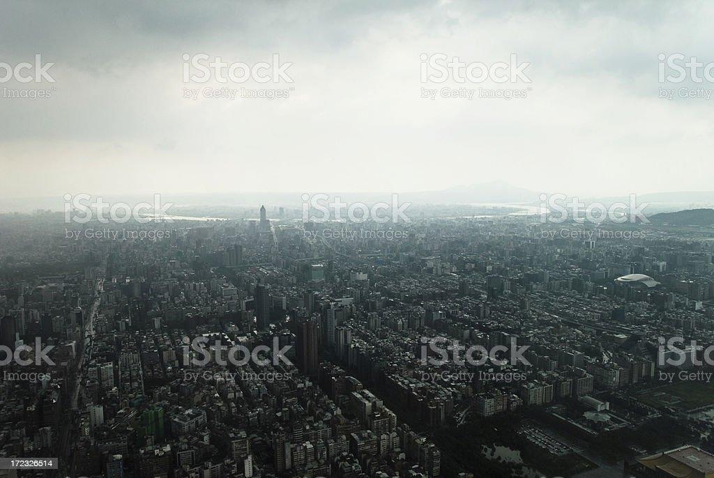 Ariel Stormy Asian Cityscape stock photo