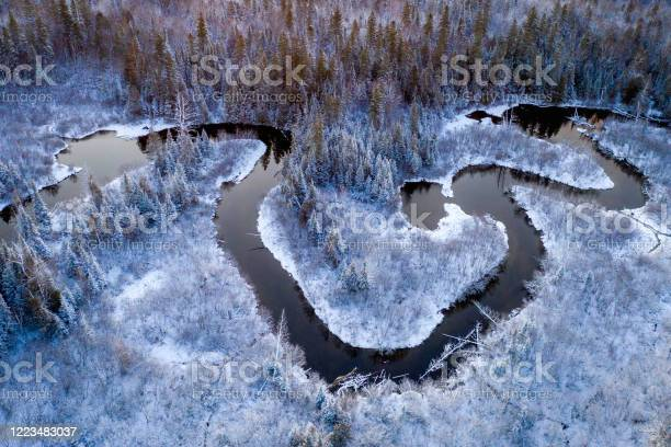 Photo of Ariel view of a winding creek in winter